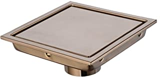 Bathroom Stainless Steel 6 Inch Square Shower Floor Drain with Tile Insert Grate, Champagne Bronze