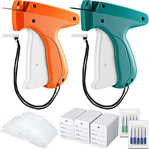 1112 Pieces Clothes Garment Tag Attacher Garment Tag Applicator Machine 2 Inch Standard Plastic Fastener Barb Clothing Paper Tag Size Name Tag Steel Needle for Boutique Store (Dark Green, Orange)