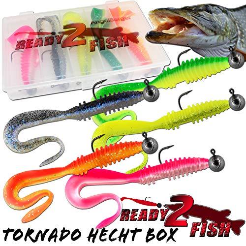 Angel-Berger Ready2Fish Tornado Twister mit Box Gummifisch Set mit Box Kunstköder (Hecht / 14cm)