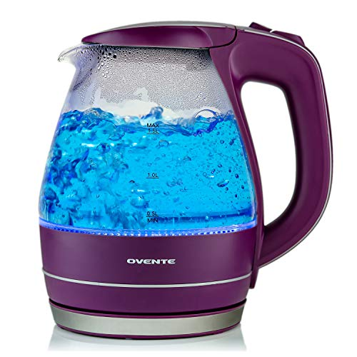 Ovente Electric Kettle, 1.5L, 1100W, BPA-Free, Heat-Tempered Borosilicate Glass, Stainless Steel, Auto Shut-Off & Boil-Dry Protection, Blue LED Lights, Purple (KG83P)