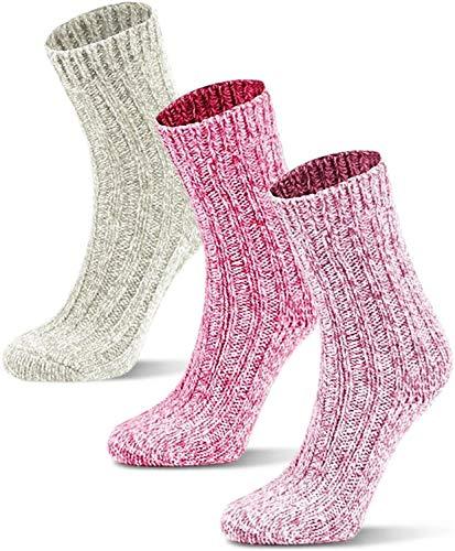 Circle Five 3 Paar Wintersocken mit Schafwolle für Kinder - warme Wollsocken für Jungen und Mädchen Farbe Weiß/Rosa/Pink Größe 31-34