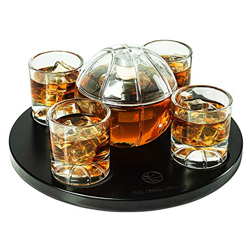 Basketball Decanter Set, Whiskey Scotch or Bourbon Decanter Perfect for Basketball Enthusiasts by The Wine Savant