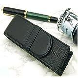 万年筆ケース 重厚感ある 2本用 レザー 万年筆ケース ペンケース 2本用 イギリス (ブラック)