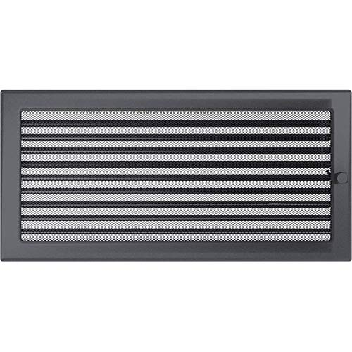 KRATKI Lüftungsgitter mit Jalousien (Lamellen) | 22 x 45 cm | Graphit | Abluftgitter für Kamin Belüftung | mechanisch -und überhitzungbeständig | Für jede Art von Innenraum
