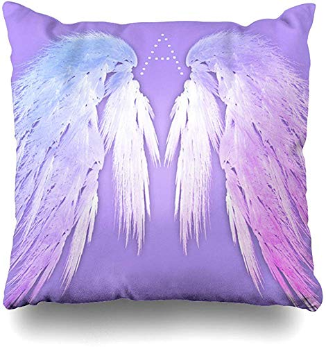 Fhdang Decor Two Sides Printed Soft Angel Wings Fairy Purple Monogram Chocolate Dipped Oreo Throw Pillow Cover Home Decorative Cushion Case Pillow Case sofa bed car living home with hid 18x18 Inch