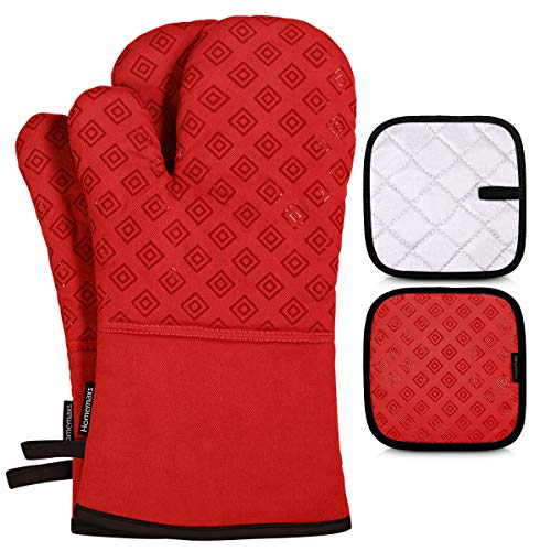Homemaxs Oven Mitts and Pot Holders 4pcs Set, 500℉ Heat Resistant Non-Slip Food Grade Kitchen Mitten Silicone Cooking Gloves s for Kitchen, Cooking, Baking, BBQ (Red)