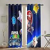 Cortinas de oscurecimiento con aislamiento térmico Super Mario Odyssey para habitación de niño, cortina opaca aislante térmico, 160 x 160 cm