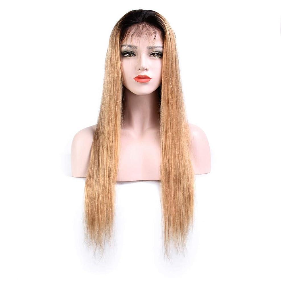 電話メッセージ大使Koloeplf 100%リアルヘアストレートヘアライトブラウンウィッグヘッドギアフロントレースエアバンウィッグ (サイズ : 12 inch)