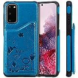 CTIUYA Schutzhülle für Samsung Galaxy S20, Handyhülle Handytasche Case Hülle Leder Tasche mit Schönes Muster Kartenfach Innere Silikon Bumper Stoßfest Cover Lederhülle für Samsung Galaxy S20,Blau