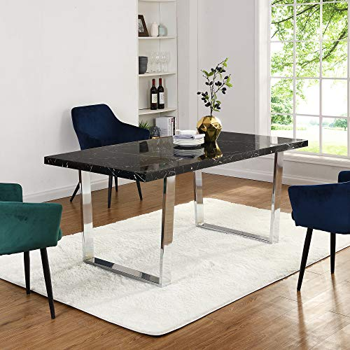 Cherry Tree Furniture BIASCA 6-Seater High Gloss Marble Effect Dining Table with Silver Chrome Legs (Black)