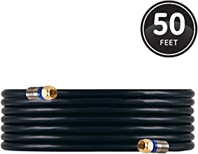 GE RG6 Coaxial Cable, 50 ft. F-Type Connectors, Quad Shielded Coax Cable, 3 GHz Digital,..