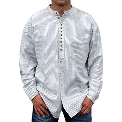 NADUR Stehkragenhemd - Irisches Stehkragenhemd - SW 256 Stripe (M, Stripe)