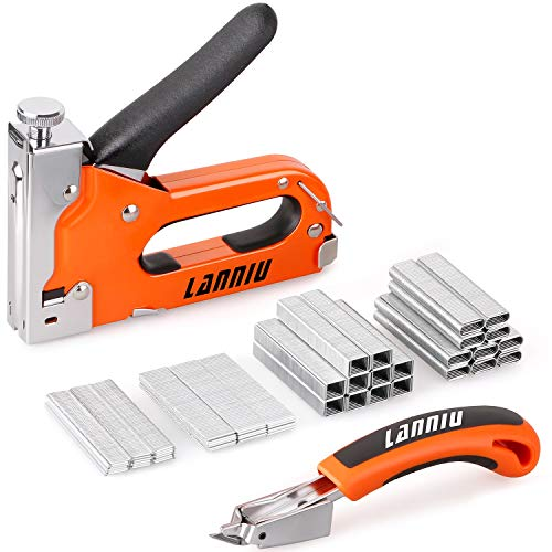 LANNIU Staple Gun, Heavy Duty Staple Gun with Remover, 4 in 1 Staple Gun with 4000 Staples for Upholstery, DIY, Fixing Material, Decoration, Carpentry, Furniture