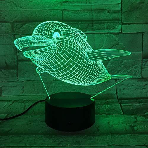 Fettes Delphinmuster des Fliegens 3D führte Nachtlicht 7 Farbfernsteuerungsnotenschlafzimmerlampenausgangsdekoration, Weihnachtsgeschenk der Kinder