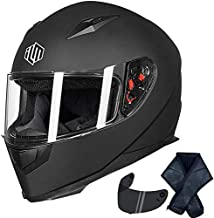 ILM Full Face Motorcycle Street Bike Helmet with Removable Winter Neck Scarf + 2 Visors DOT (S, Matte Black)