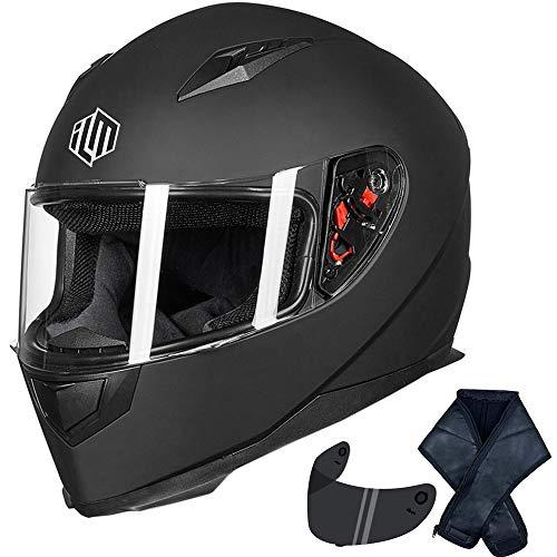 ILM Full Face Motorcycle Street Bike Helmet with Removable Winter Neck Scarf + 2 Visors DOT (M, Matte Black)