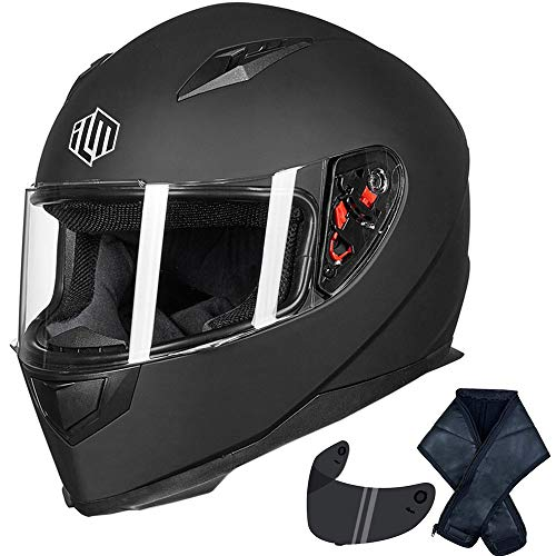 ILM Full Face Motorcycle Street Bike Helmet with Removable Winter Neck Scarf + 2 Visors DOT (XL, Matte Black)