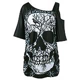 Camiseta Hombro Caido Atractivo Mujer LHWY, Blusa con Estamp