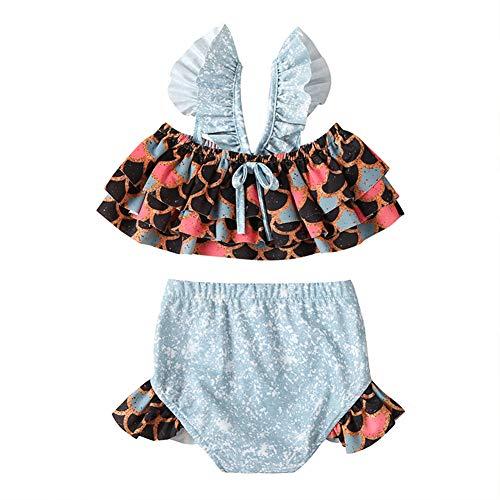 Traje de baño de niña Toddler Newborn Baby Girl traje de baño Tirantes Beachwear Niños Traje de baño Bikini Set Kid Beach Swimwear Oro negro. 2-3 Años