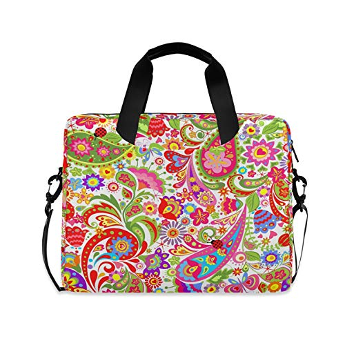 JNlover Colorful Ethnic Paisley Flower Laptop Bag 16 inch, Portable Sleeve Briefcase Laptop Case Notebook Computer Carrying Case Bag for Women Men