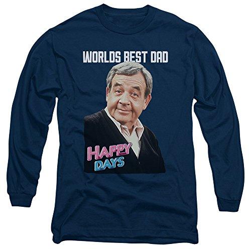 Happy Days - Le meilleur papa T-shirt manches longues pour hommes, X-Large, Navy