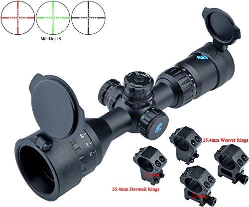 Eagle Eye Rifles Scope 3-9x42 AOEG (25.4mm Tube) Rot/Grün Beleuchtete Revolver mit Lock/Reset Jagd Kompakt Mil Dot Riflescope (verpackt mit 2 Arten von Halterungen)