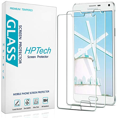 2-Pack HPTech Tempered Glass For Samsung Galaxy Note 4 Screen Protector, Easy to Install, Bubble Free, 9H Hardness
