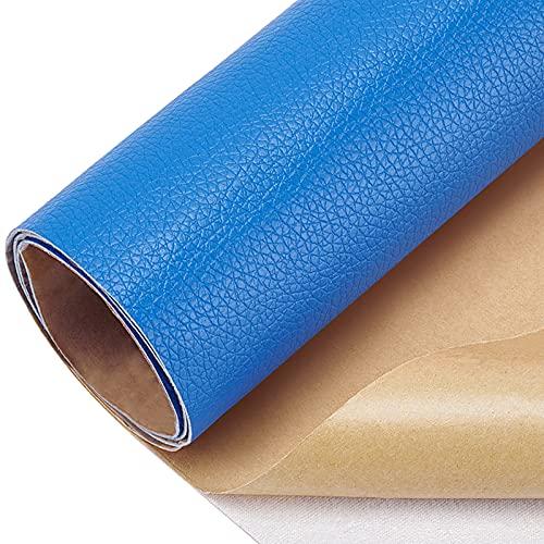 BENECREAT Parche de reparación de piel adhesivo de 60 x 30 cm para muebles de asientos de coche para sofás (RoyalBlue, 0,8 mm de grosor)