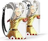 Étui portefeuille pour iPhone 12 - Motif One Punch Man Saitama - En cuir synthétique - Avec...