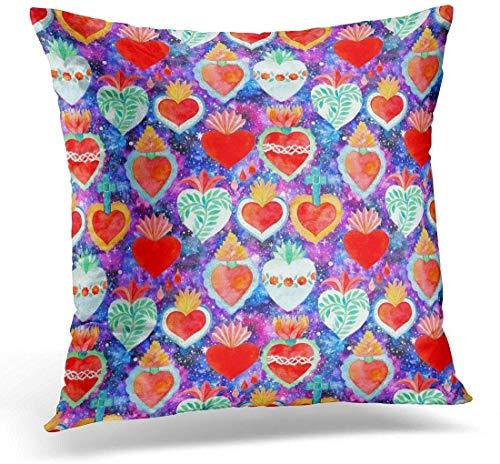 Dekokissen Blue Sacred Heart Aquarell Saint Flaming mit Pflanzen Blumen Kreuz und Blutstropfen auf Cosmic Real Green Dekorative Kissen Home Decor Square Pillow