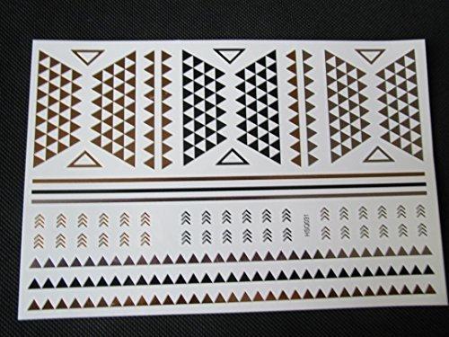 Various Qualité Premium Femmes Filles Noir Or, Argent Métal Festival Ibiza Celtique Tribal étoiles vines Tatouages Temporaires pour les fêtes, cadeaux, etc - par Fat-catz-copie-catz - A2 Or Tatouage