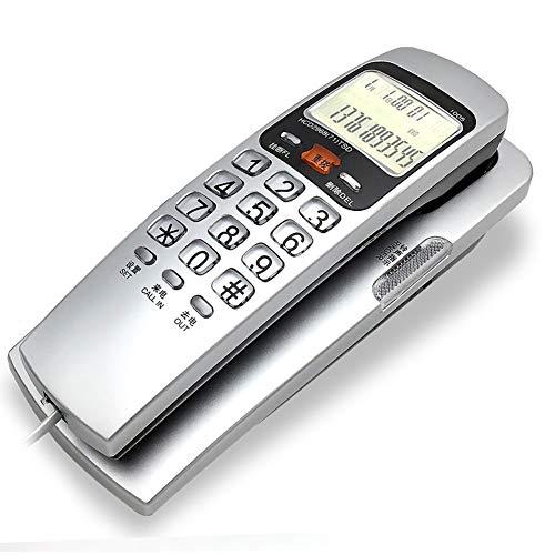 XAOBNIU Teléfono con Cable Teléfono Fijo Gondola Style Hotel Junto a la Cama montada en la Pared Identificador de Llamadas Extensión (Color : Silver)