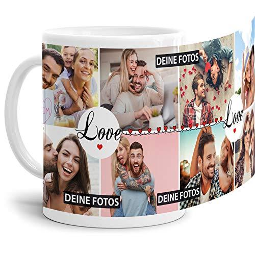 Tasse mit Spruch Love zum SELBSTGESTALTEN mit Foto-Collage für 8 WUNSCHFOTOS - Fototasse personalisiert - Persönliche Geschenkidee für Freunde und Familie - Weiß