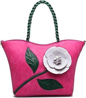 Trendy Ladies Vintage Rose Stereo Big Flower Bag Woven Handbag Crossbody Shoulder Bag Zgywmz (Color : Rose, Size : 32 * 15 * 29cm)