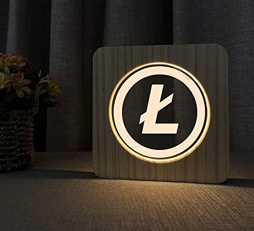 Lampe LED en bois au design Litecoin - Cadeau parfait pour les fans de Krypto (BTC)