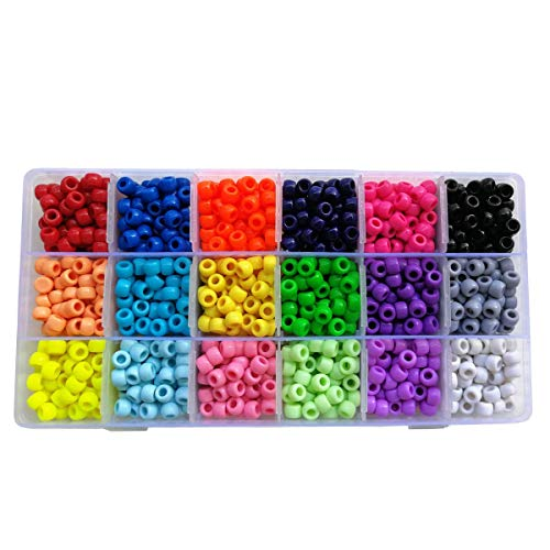 BALABEAD Giant Crayon Bead Box, Pony Beads with Smooth Surface Craft Assortment Colors (6x 9mm/18colors/1800 beads)