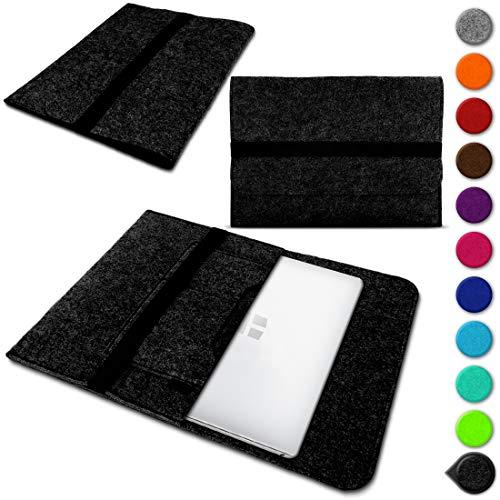 Nauci Laptop Schutzhülle für Trekstor Primebook C13 / P14 / P14B / P13 aus Filz mit Innentaschen Sleeve Hülle Tasche Cover Notebook Case Tasche, Farbe:Dunkel Grau