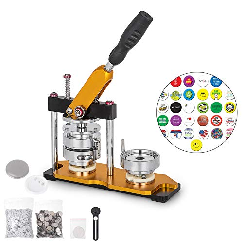 Best Price VEVOR Button Maker Rotate Button Maker Yellow with 100 Sets Circle Button Parts (75mm)