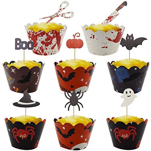 TXErfolg 48 Stück Halloween Papier Cupcake Topper Picks Inklusive Pappbecher Dekorative PapiereGhost Spinne Fledermaus Kürbis Dec für Halloween Zauberer Party Birthday Themed Party