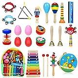 Jojoin Instruments de Musique pour Enfants, 25Pcs Set en Bois Percussion pour Bébé...