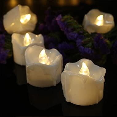 Tealight Candles Battery Operated with Timer (6Hrs ON 18Hrs Off Cycle), 12pcs Timing LED Flickering Flameless Tea Light Elect