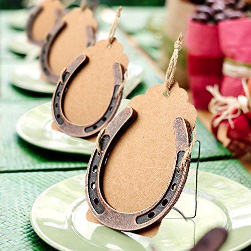 AerWo 10pcs Lucky Horseshoe Wedding Favors Numero di tavolo fai da te con tag per decorazione di nozze rustico