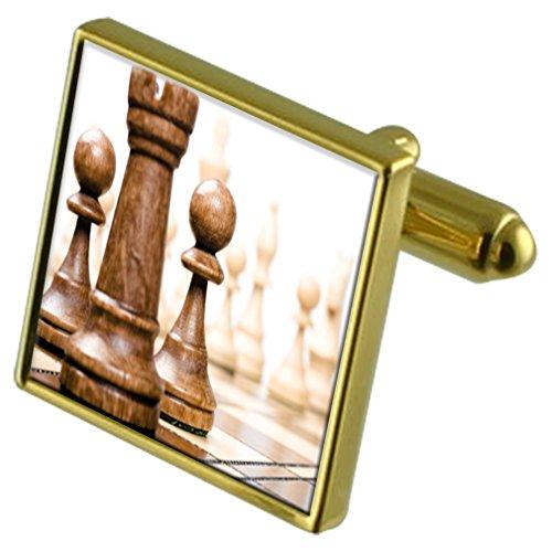 Tablero ajedrez Tono Oro Gemelos Crystal Gift Set