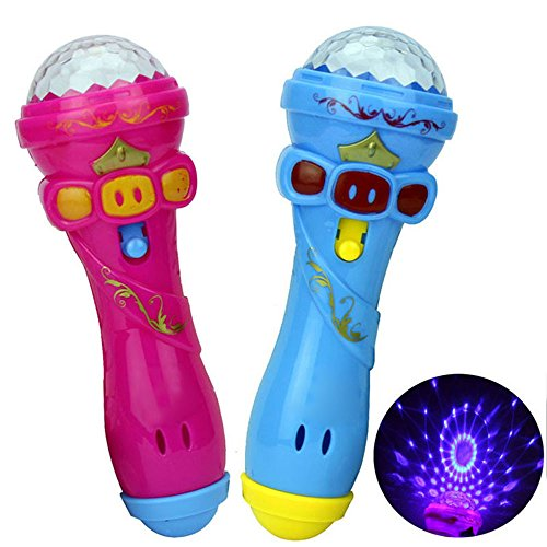 Voberry My First Microphone, Funny Lighting Wireless Microphone Model Gift Music Karaoke Cute Mini Musical Instruments Styling Toy Baby Best Gift (As Shown)