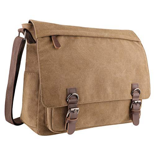 Men's Canvas Shoulder Messenger Bag, Aizbo Crossbody Day Bag Laptop Bag Satchel Bag for 15 Inches Laptop Brown