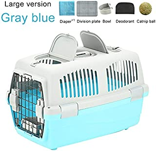 HKXR Pet Transport Bag Breathable Dog Cat Carrier Bag Case Big Space Airline Approved Car Portable Carrying Travel Puppy Cage Box (Color : Large Gray Blue, Size : 32x48x29.5cm)
