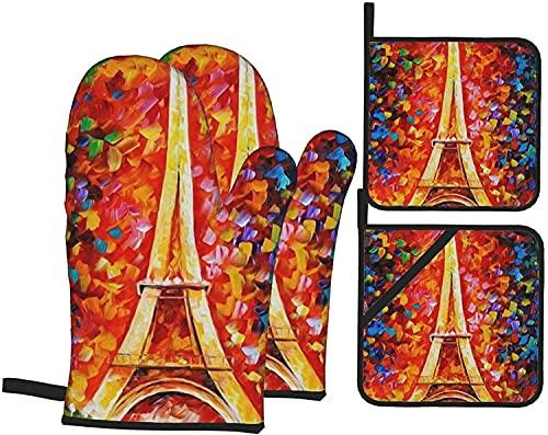 Juego de 4 manoplas y soportes para horno de la Torre Eiffel de Paris, guantes de cocina resistentes al calor, guantes de microondas para hornear cocinar a la parrilla BBQ-Black-O