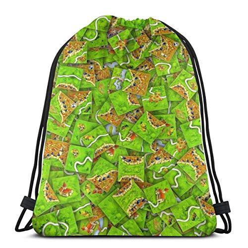 N / A Carcassonne Fliesen Jugendliche Drawstring Backpack Kordelzug Rucksack Tasche Tasche Gymsack Sporttasche Verstellbar Gym Bag Für Damen Herren