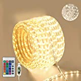 100 LED Rope Lights USB Powered, 33ft 16 Colors Changing Outdoor String Lights with Remote, Waterproof Decorative Lighting for Garden Patio Christmas Wedding Birthday Party Décor