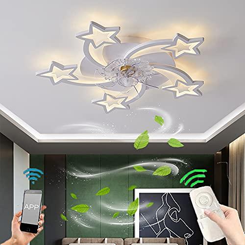 Ventilador de Techo Silencioso con Luz LED Luz de Ventilador Regulable con Control Remoto y App Lámpara de Ventilador 60W Plafon de Ventilador de Creatividad Moderna para Dormitorio 3 Velocidades